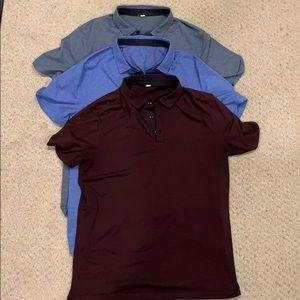3 Men's Lululemon Evolution Polo Shirts Size Large